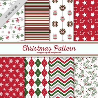 Christmas patterns of abstract and decorative shapes