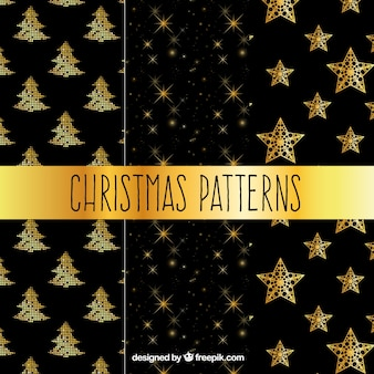 Christmas patterns with golden christmas ornaments