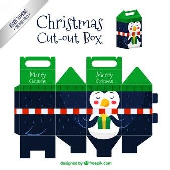 Christmas penguin cut out box