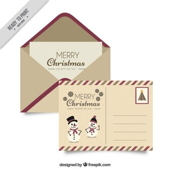 Christmas postcard and vintage envelope