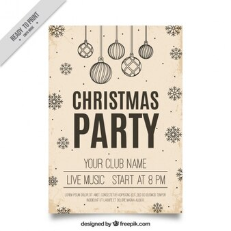 Christmas poster with balls and snowflakes in vintage style