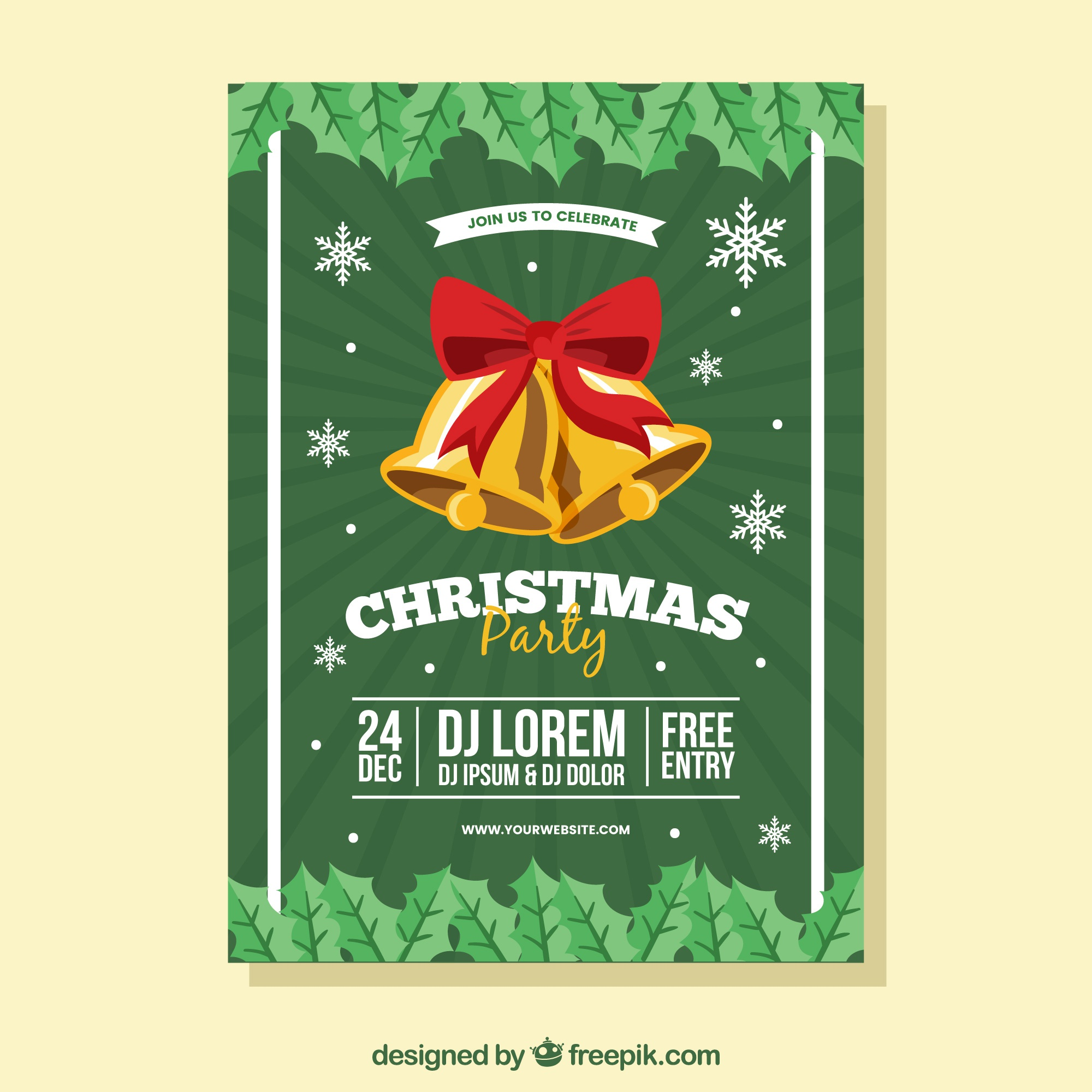 Christmas poster with flat bells