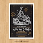 Christmas poster with hand drawn style