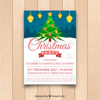 Christmas poster with lovely tree