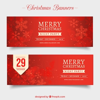 Christmas red banners with snowflakes