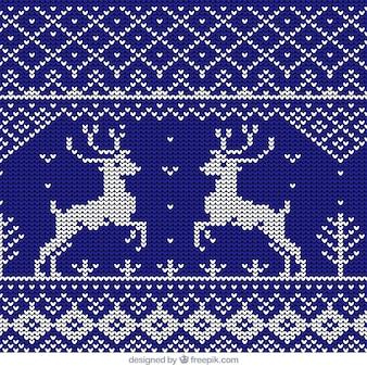 クリスマスのトナカイブルーウールパターン