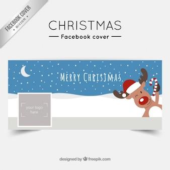 Christmas reindeer facebook cover