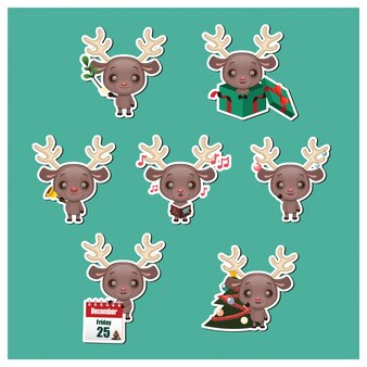 Christmas reindeers collection
