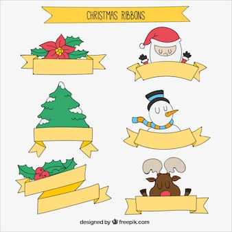 Christmas ribbons collection of hand-drawn elements