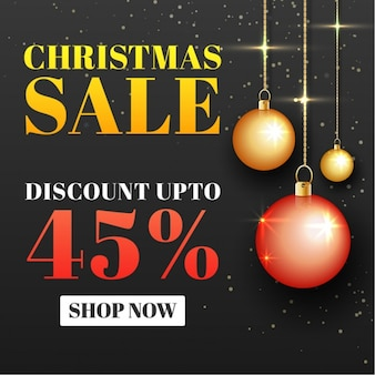 Christmas sale background with balls hanging