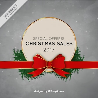 Christmas sale background with red ribbon