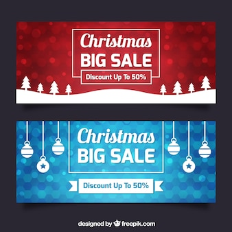 Christmas sale banners with shiny backgrounds