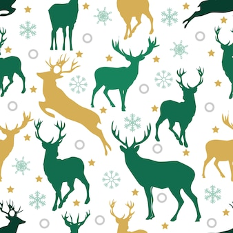 Christmas seamless pattern with reindeer and snowflake on white background