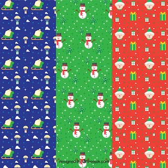 Christmas set of patterns in flat design