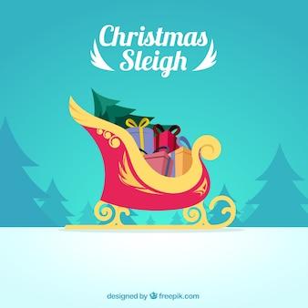 Christmas Sleigh full of Gifts Illustration