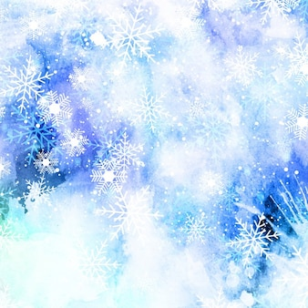 Christmas snowflakes on a watercolor background