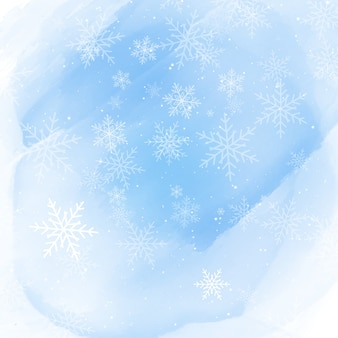 Christmas snowflakes on a watercolour background