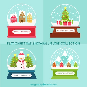 Christmas snowglobes pack in flat design