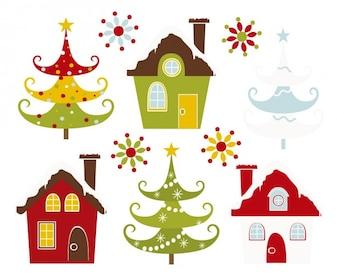 クリスマスは家や木を雪
