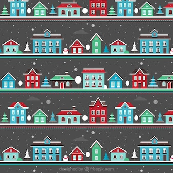Christmas Snowing Landscape Pattern