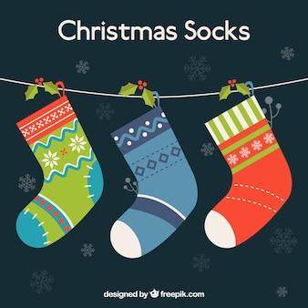 Christmas socks hanging on a rope