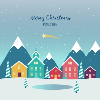 Christmas Town Flat Background