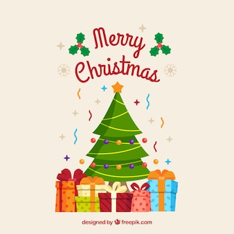 Christmas tree background with gift boxes