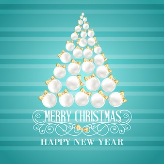 Christmas tree background with white balls