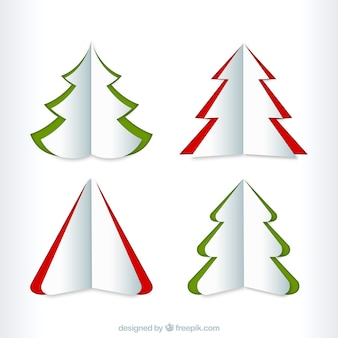 Christmas tree collection in origami style