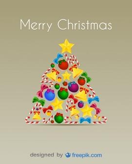 Новогодняя елка сделано с леденцы, колокольчики, елочные шары и бантами