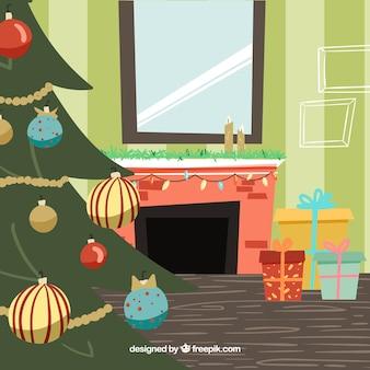 Christmas tree inside a house