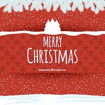 赤の背景にクリスマスツリー