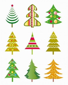 christmas tree vector illustration set