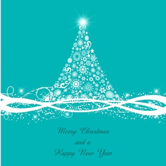 Christmas tree with white ribbon background