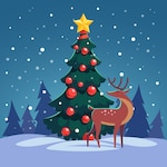 Christmas tree with wild reindeer in the forest