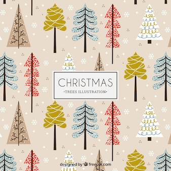 Christmas trees illustration pattern