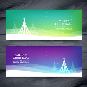 Christmas trees with waves banners set