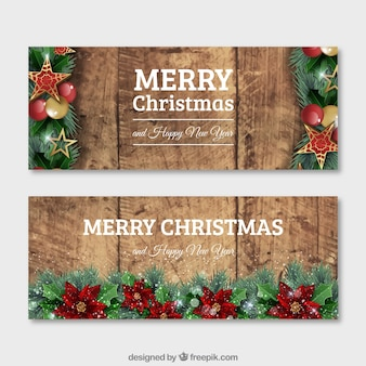 Christmas wooden banners