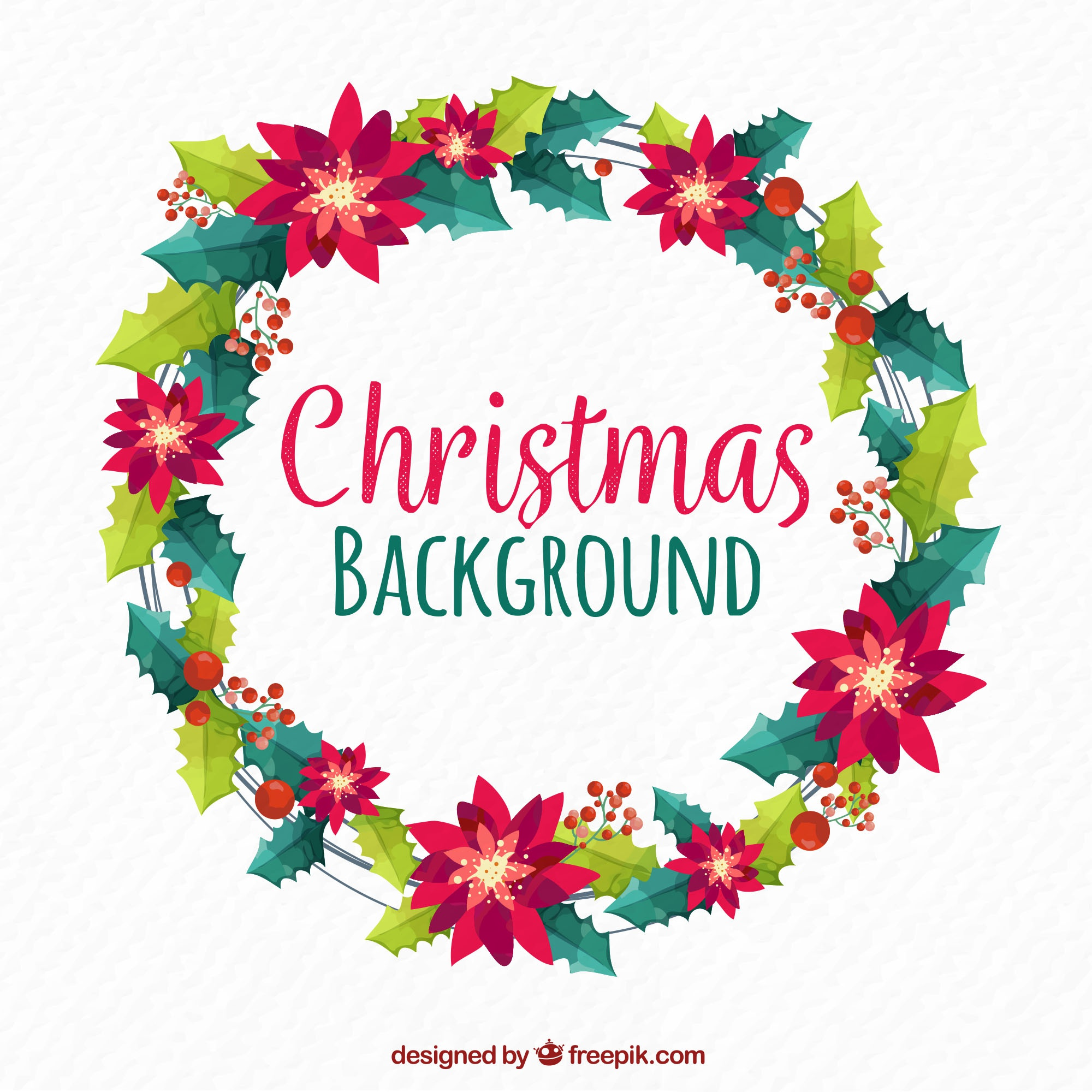 Christmas wreath background with easter flowers