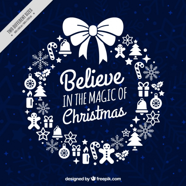Christmas wreath card with inspiring message