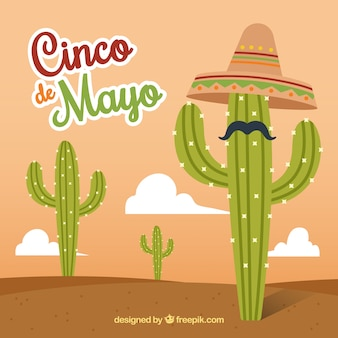 Cinco de mayo background of cactus with hat and mustache