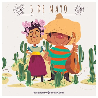 Cinco de mayo background with adorable mexican couple and cactus