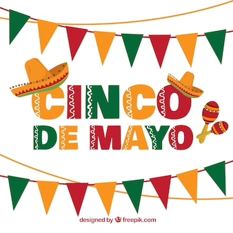 Cinco de mayo background with garlands and mexican hats