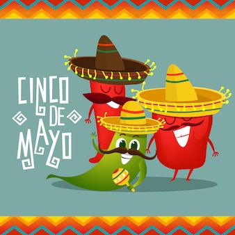 Cinco de mayo background with pepper characters
