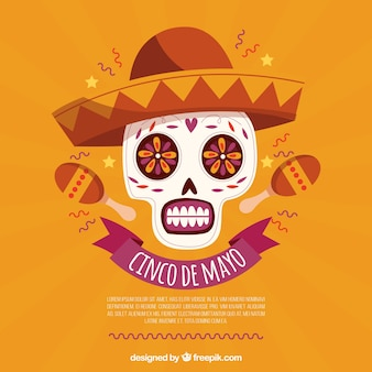 Cinco de mayo background with skull and maracas