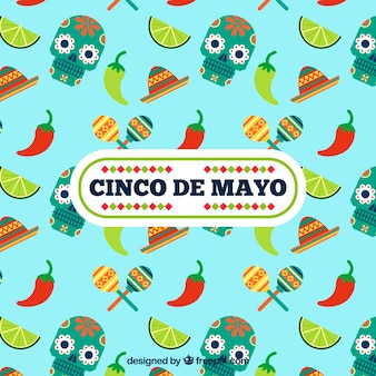 Cinco de mayo background with skulls and chili