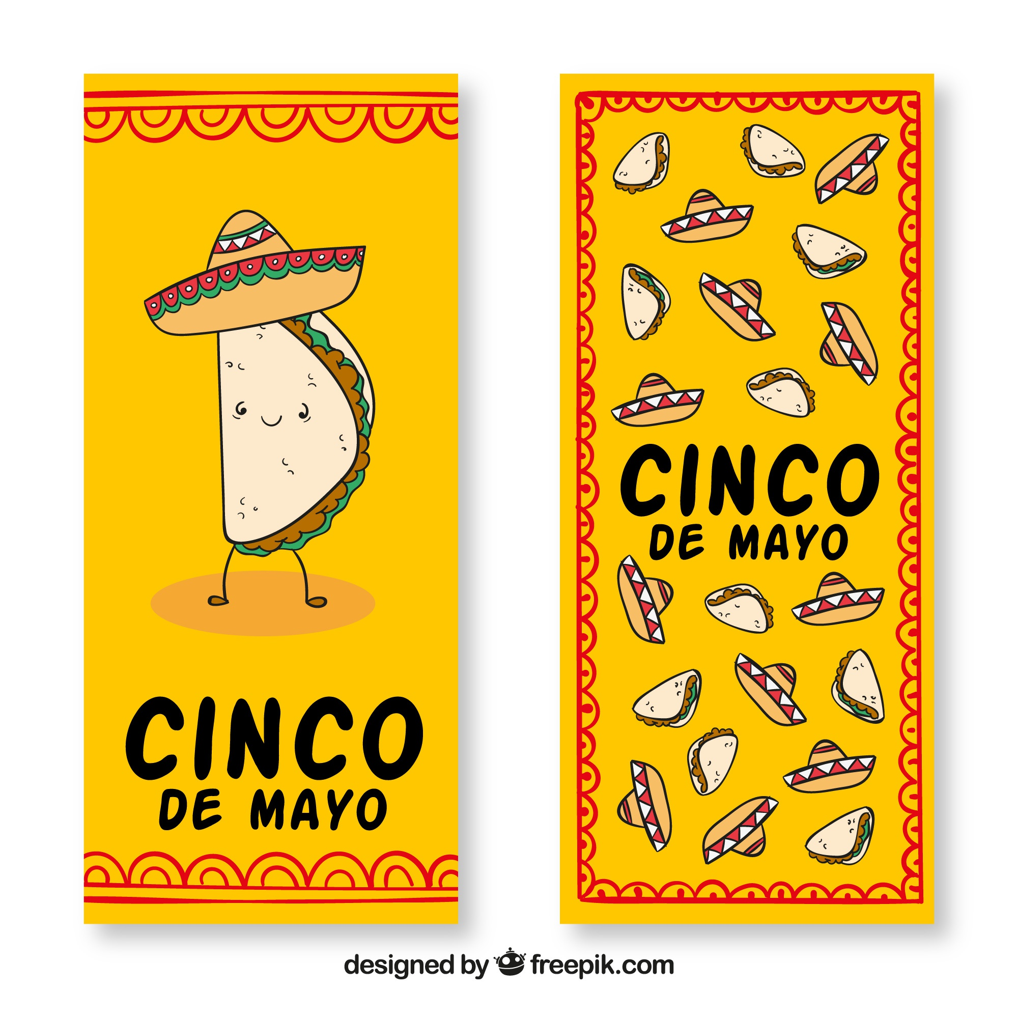 Cinco de mayo banners with hat and traditional mexican food