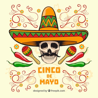 Cinco de mayo skull background with mexican hat