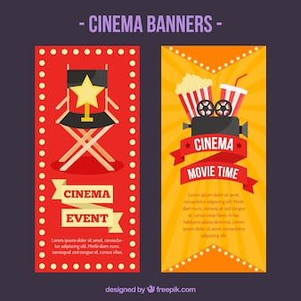Cinema banners with spotlighs