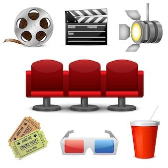 Cinema entertainment decorative icons